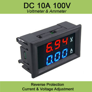 Mini Digital Voltmeter Ammeter Dc 100v 10a Panel Amp Volt Voltage Meter Tester
