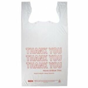 Prime Plastics Small T shirt Hdpe Thank You Plastic Shopping Grocery Bags 8 x