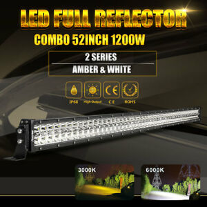 52 Inch Osram Led Light Bar Driving Combo Spot Flood Work Suv Atv Truck Pk 7d 8d