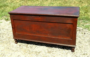 Cherry Blanket Chest Red Wash Finish Sheraton Style Early Antique Primitive 1850