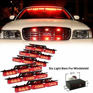 54 X Red Led Bright Flashing Strobe Lights Firefighter Ems Emt Front Grille Deck
