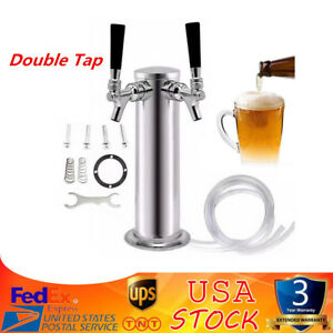 Double Tap Stainless Steel Draft Beer Tower Kegerator Chrome Faucets 3 76mm Usa