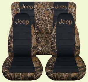 03 06 Jeep Wrangler Lj Camo 15 Blck Front Rear Car Seat Covers With Design
