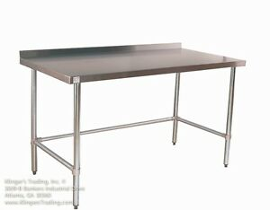 24 X 60 Open Base All Stainless Table With Back Splash