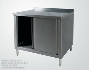 30 x36 Stainless Enclosed Work Table Cabinet With Back Splash