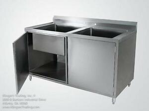 30 x60 Stainless Steel Cabinet With 2 Sink Bowls