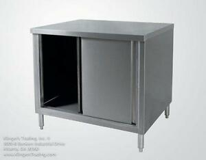 24 x72 Stainless Enclosed Work Table Storage Cabinet