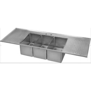 3 Bowl Drop In Bar Sink With 2 Drain Boards