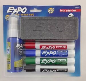 Lot 3 Expo Low Odor Dry Erasable Markers Chisel Tip Assorted Colors 4 Piece
