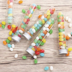 12 120x Plastic Lab Test Tubes Metal Caps Screw Top Round Bottom Wedding Party