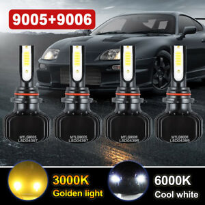 9005 9006 Led Headlight Kit Dual Color Change Bulbs 3000k Yellow 6000k White