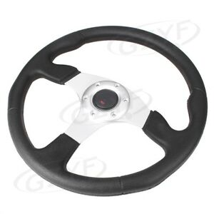 1pc 14 Universal Pu Leather Stitching Sport Car Racing Steering Wheel Silver