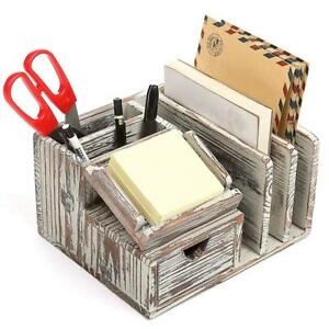 Mygift Torched Wood Desktop Office Organizer W sticky Note Pad Holder Mail