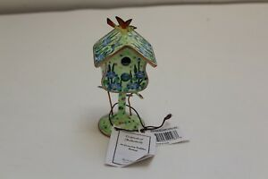 Enameled Postage Stamp Holder blue Flower Birdhouse By Kelvin Chen New W Tags