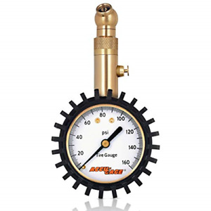 Accu Gage Tire Pressure Gauge With Protective Rubber Guard Angled Chuck 160psi