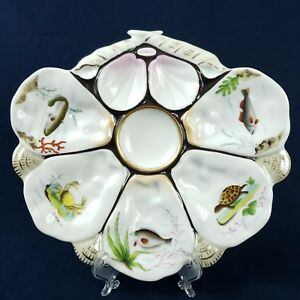 Antique Wilhelm And Graef Sea Creatures Hand Painted Oyster Serving Plate Tray
