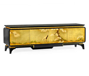 New Asian Chinoiserie Black And Gold Leaf Tv Audio Entertainment Cabinet Stand