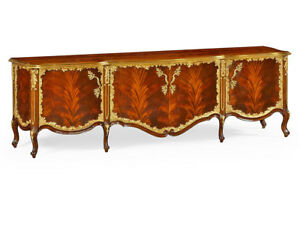 New French Louis Xv Rococo Tv Entertainment Cabinet Stand Mahogany Gold Leaf