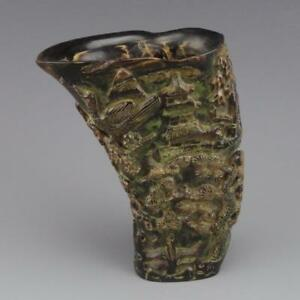 Beautifully Carved Chinese Ox Horn Brush Pot Scholars And Nature Scenery