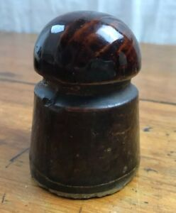 Antique Stoneware Brown Glazed Screw On Threaded Jug Bottle Lid 3