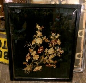 Great Old Victorian Floral Embroidery Framed Under Heavy Bevel Glass 28 X 23