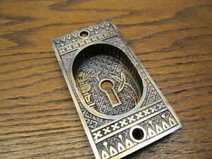 Eastlake Brass Bronze Pocket Door Escutcheon Broken Leaf Bamboo