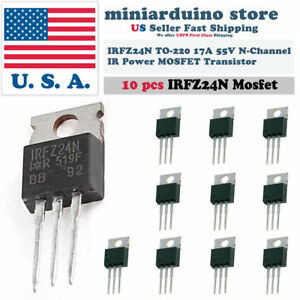 10pcs Irfz24n Irfz24 Power Mosfet Transistor Hexfet 17a 55v Fast Switching Ir