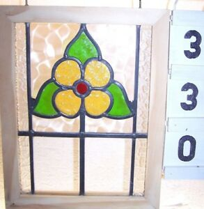 Old Leaded English Stained Glass Window Bright Floral