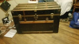 Antique 1800s Oak Slat American Steamer Flat Top Trunk