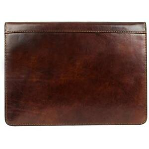 Leather Portfolio Dark Brown Organizer Document Holder