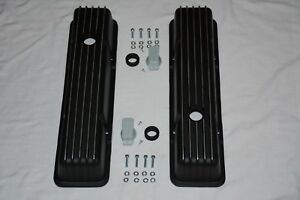 Black Aluminum Chevy Nostalgia Finned Tall Valve Covers 283 305 327 350 400 Sbc