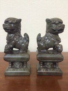 Antique Carved Soapstone Stone Marble Foo Dogs Bookend Statue Pair