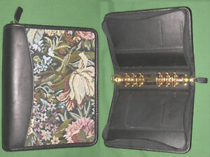 Compact 1 25 Floral Tapestry Full Grain Leather Franklin Covey Planner Binder