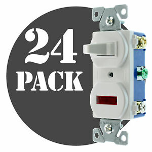 Hubbell Rc109wz Pilot Light Toggle Switch 1 pole 15a 120v White 24 pack