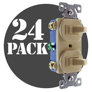 Hubbell Rc101iz Double Toggle Switch 2 1 pole 15a 120 277v Ivory 24 pack