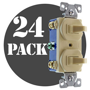 Hubbell Rc103iz Double Toggle Switch 1 p 3 way 15a 120 277v Ivory 24 pk