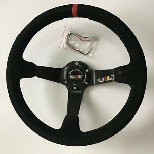350mm Ralliart Suede Leather Deep Dish Steering Wheel For Momo Omp Drifting Race