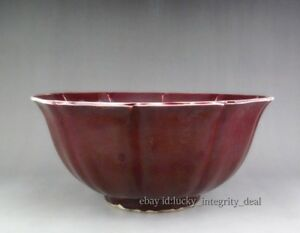 Rare Chinese Porcelain Monochrome Glaze Ox Blood Red Punch Bowl Mark