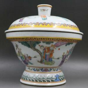 Chinese Old Marked Famille Rose Immortals Story Pattern Porcelain Soup Lid Bowl