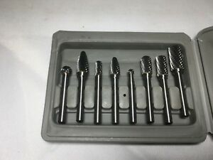 1 4 Shank 8pcs Double Cut Carbide Rotary Burr Bit Set Cnc Engraving W Box