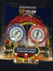 Yellow Jacket R22 134a 404a Manifold 3 1 8 Gauges W 60 Plus Ii Hoses 42006