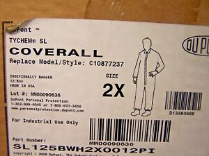 8 New Dupont Tychem Sl125bwh2x0012pi Coverall Suit Disposable Size 2x Lot Of 8