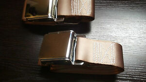 Vintage Vw Volkswagen Bug Bus Ghia Thing T3 Tan 2 Piece Lap Seat Belts Pair New
