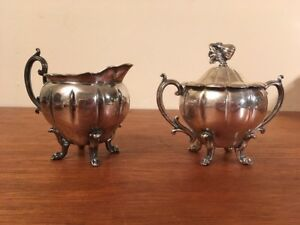 Antique Vtg Footed Silverplate Cream And Sugar Set W Handle Gourd Finial