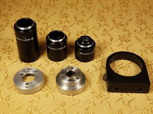 Vtg Lot Of 6 Bausch Lomb microscope Lens Attachments various Sizes v g c