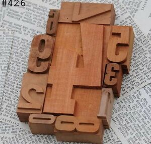 0 9 Mixed Unused Numbers Letterpress Wood Printing Blocks Type Number Letter 123