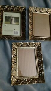 Ornate Lot Vtg Gold Filigree Metal5x7picture Photo Frame Wall Mantle Table Decor