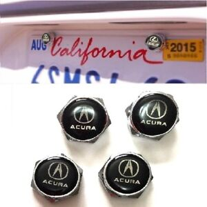 4pcs Acura Car License Plate Frame Screw Bolt Cap Cover Screw Bolts Nuts