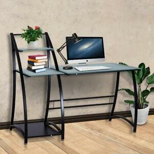 Glass Top Writing Study Desk With Shelves Laptop Pc Workstation Computer Office