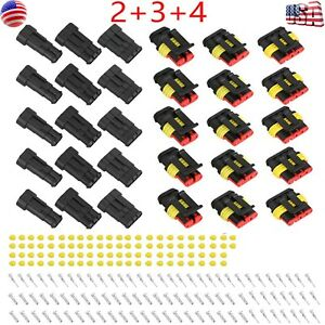 15kits 2 3 4 Pin Way Car Super Seal Waterproof Electrical Wire Connector Plug Us